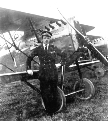 Luigi Bologna in front of an Ansaldo A 1 Balilla fighter